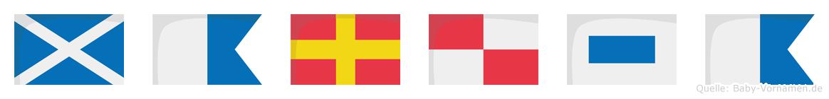 Marusa im Flaggenalphabet