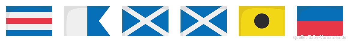 Cammie im Flaggenalphabet