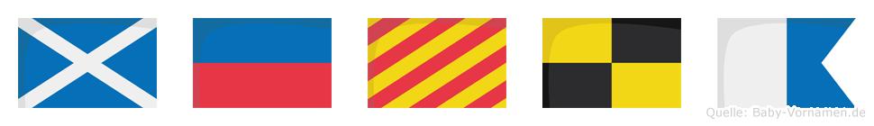 Meyla im Flaggenalphabet