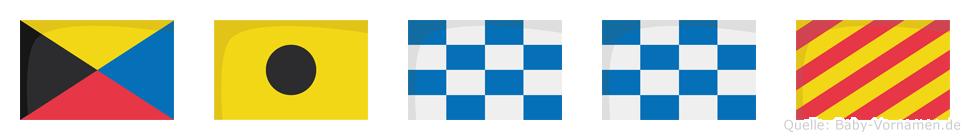 Zinny im Flaggenalphabet