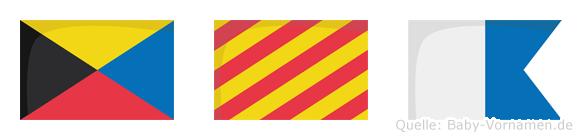 Zya im Flaggenalphabet