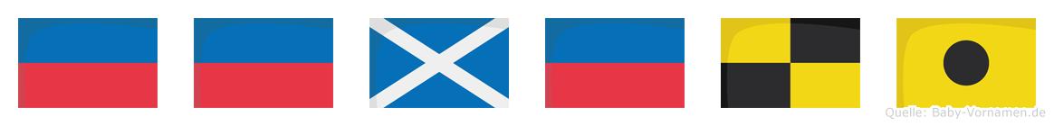 Eemeli im Flaggenalphabet