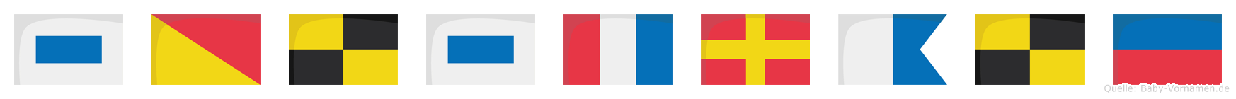 Solstrale im Flaggenalphabet