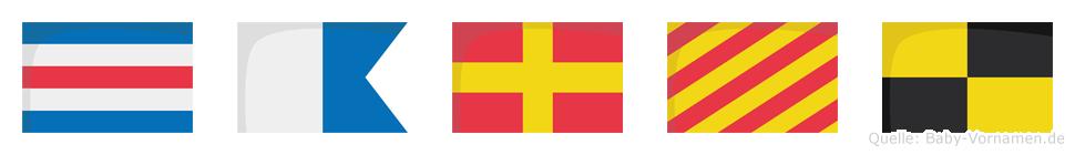 Caryl im Flaggenalphabet