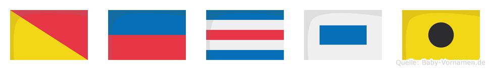 Öcsi im Flaggenalphabet
