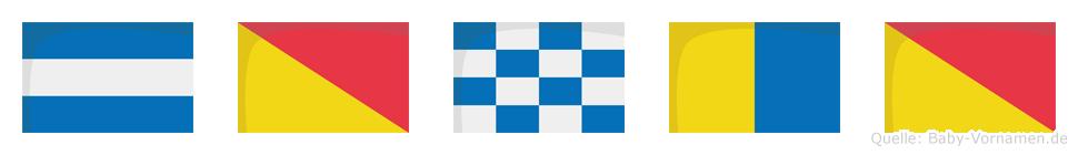 Jonko im Flaggenalphabet