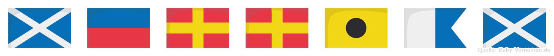 Merriam im Flaggenalphabet