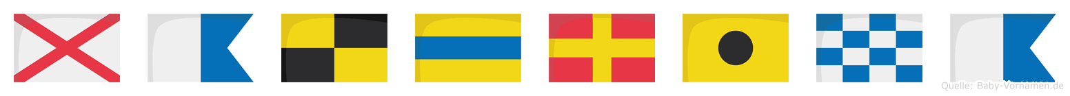 Valdrina im Flaggenalphabet