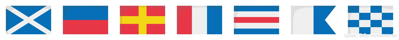 Mertcan im Flaggenalphabet