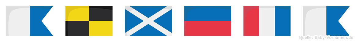 Almeta im Flaggenalphabet