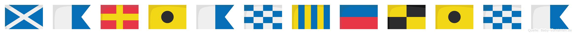 Mariangelina im Flaggenalphabet