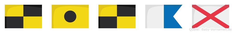 Lilav im Flaggenalphabet