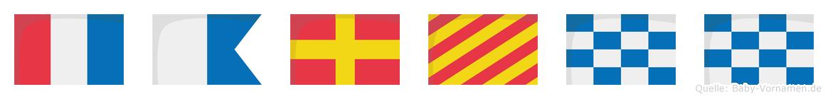 Tarynn im Flaggenalphabet