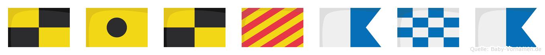 Lilyana im Flaggenalphabet