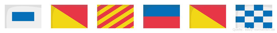 Soyeon im Flaggenalphabet