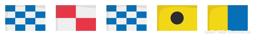 Nunik im Flaggenalphabet