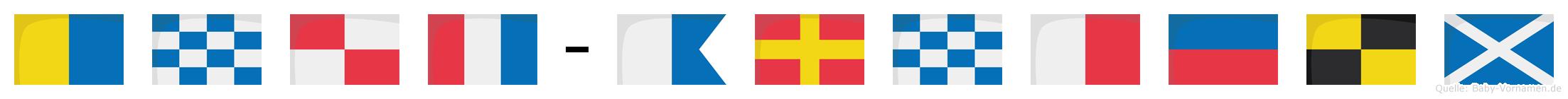 Knut-Arnhelm im Flaggenalphabet