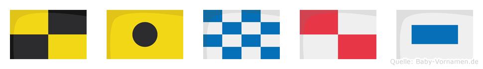 Linus im Flaggenalphabet