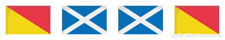 Ommo im Flaggenalphabet